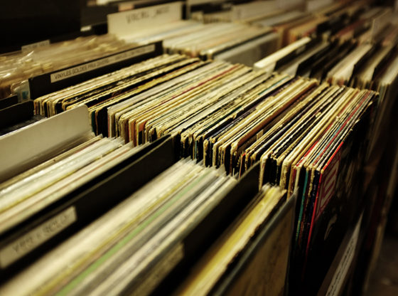 Collection of vinyl records.