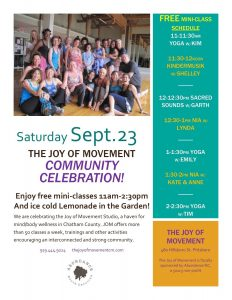 Joy of Movement Community Day @ Joy of Movement at Chatham Mills